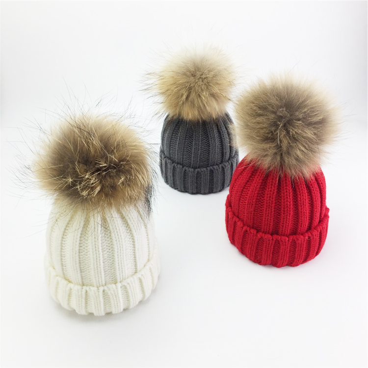 Winter knitted beanie pom pom woman hat skull real fox fur caps with two fur balls