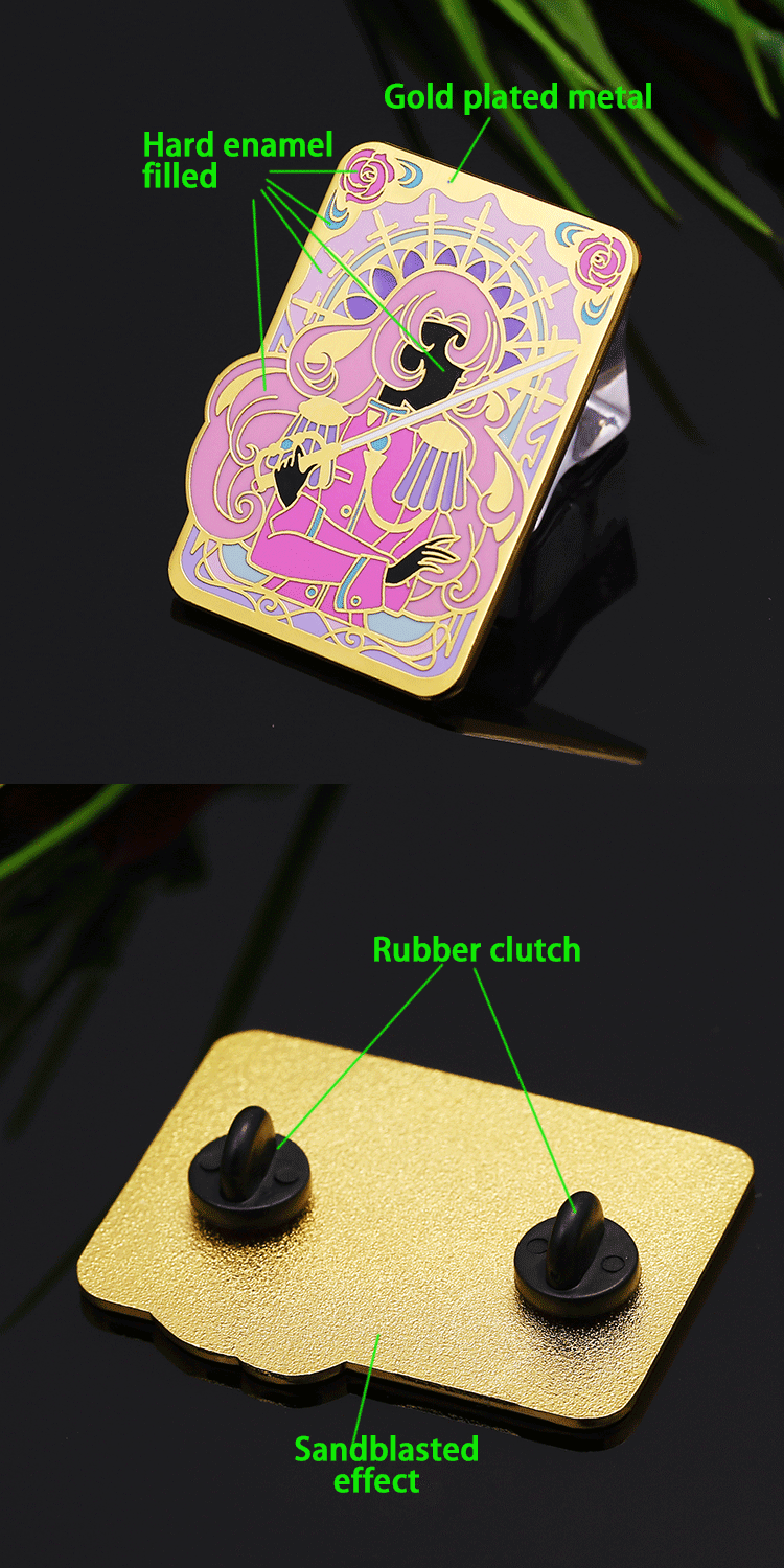 Wholesale custom metal gold hard enamel flower lapel pins with rubber clutch