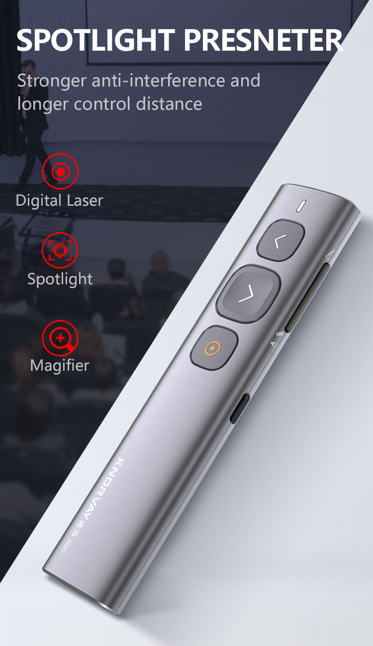 Wireless Spotlight Presenter, Presentation Laser Pointer, slide changer pen laser pointer rechargeable for teachers