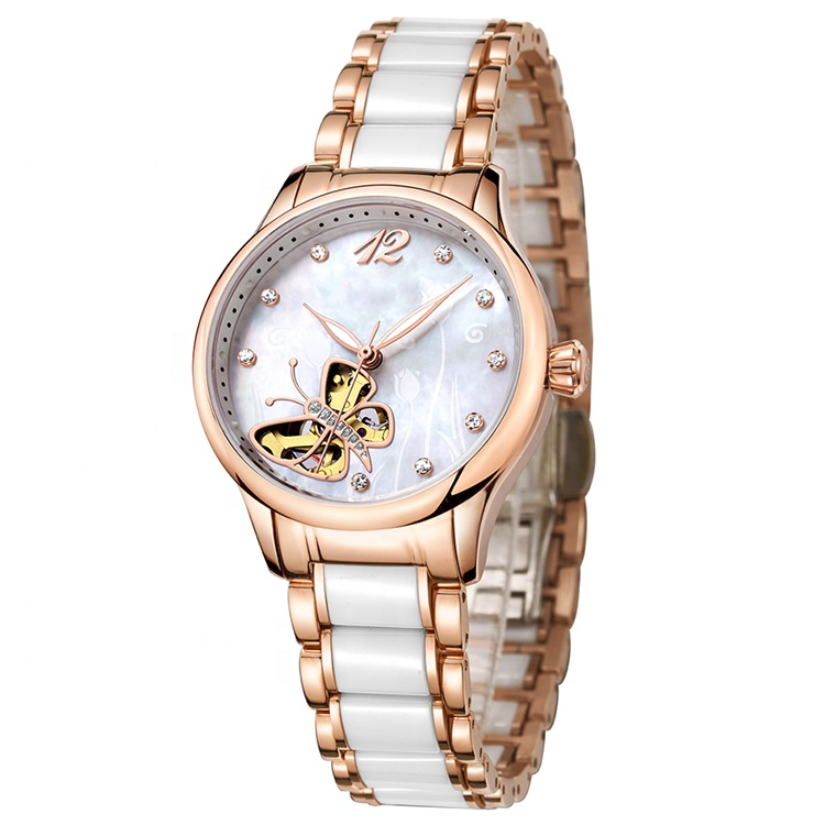Top quality design <strong>ceramic</strong> strap with stainless steel ladies watches automatic watch mechanical