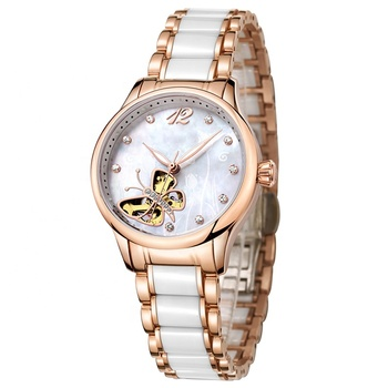 Top quality design ceramic strap with stainless steel ladies watches automatic watch mechanical