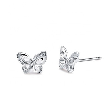 925 fashion Sterling Silver butterfly hoop earrings