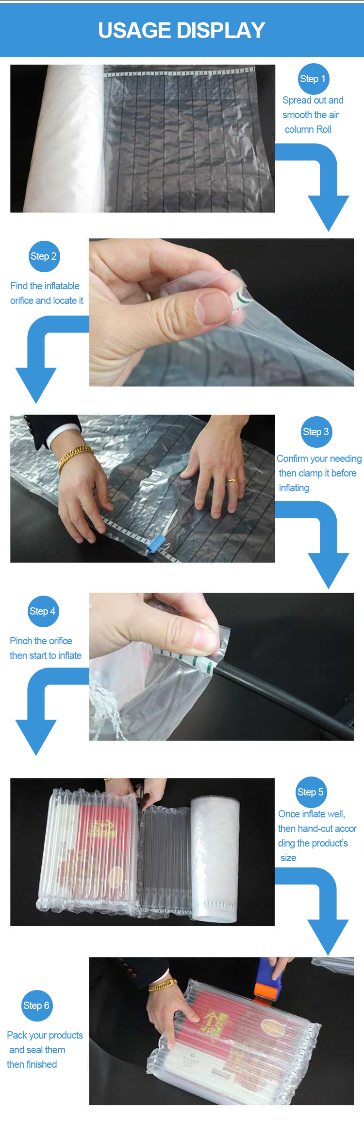Material Thickening Inflatable Air Bag Column Packaging for Laptop