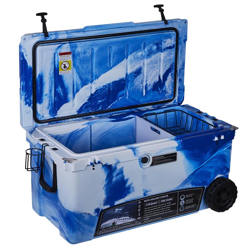 KUER 110QT camo cooler box rotomolded fácil de transportar rodas cooler box caixa de isopor refrigerador