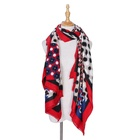 2019 New Arrivals Round Dot With Flower Pattern Machine Printed 100% Polyester Long Size Beautiful Winter Warm Scarf