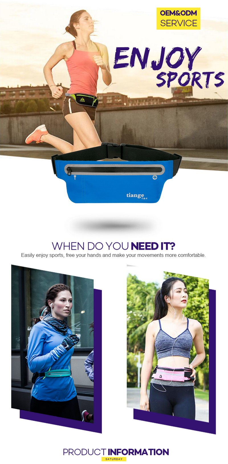 Promising running waist pouch elastic belt audio cable outlet hidden jogging waterproof sport waist belt bag