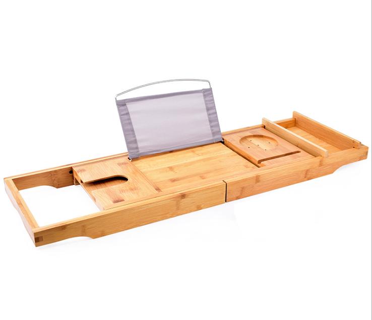 Natural Expandable Luxury Bamboo Bathroom Bath Tub Bathtub Tray Caddy With Waterproof