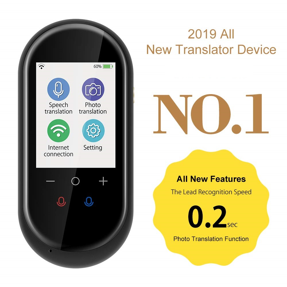 free shipping 2020 trend portable 2.4inch touch screen 106 language two way instant wifi/offline  smart voice translator