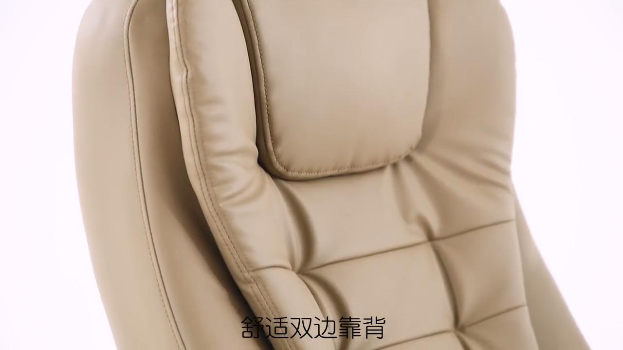 無料サンプルエグゼクティブマッサージ人間工学に基づいたスイベルハイバック厚い椅子クッションpu高級ブラックレザーオフィスチェア付きフットレスト