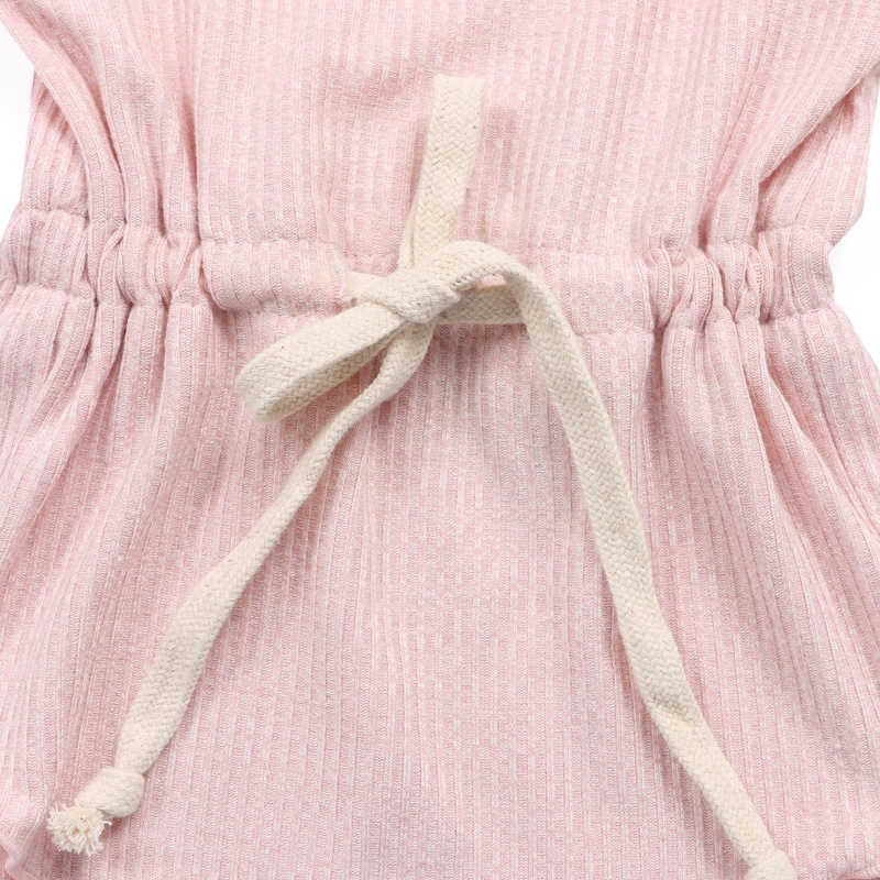 Pink ribbed cotton girl onesie clothing kids newborn baby romper