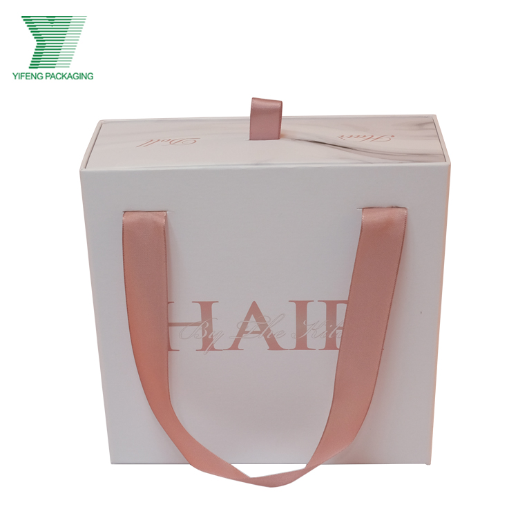 luxury custom logo print matt white cosmetic hair bundle extension storage pack drawer gift wig packaging box with ribbon handle