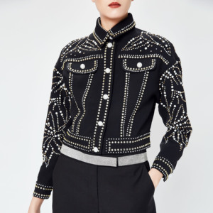 Women 2019 runway jacket black luxury rhinestone diamonds coat rivet pearls beadings short denim Coat punk Jacket Women Winter