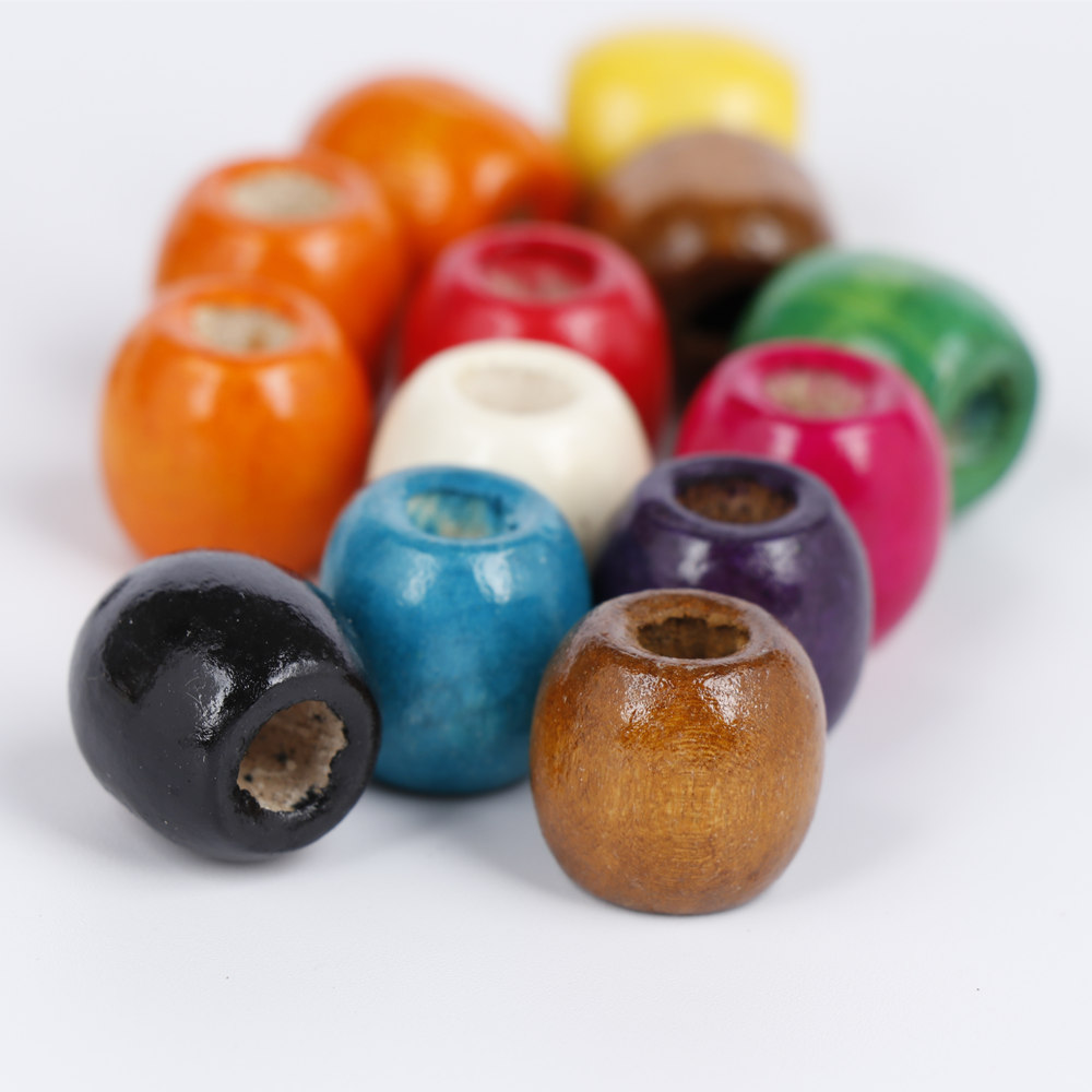 17MM Colorful Wooden Beads Large Hole Loose Ball Beads Making DIY Bracelet Necklace Jewelry Accessories