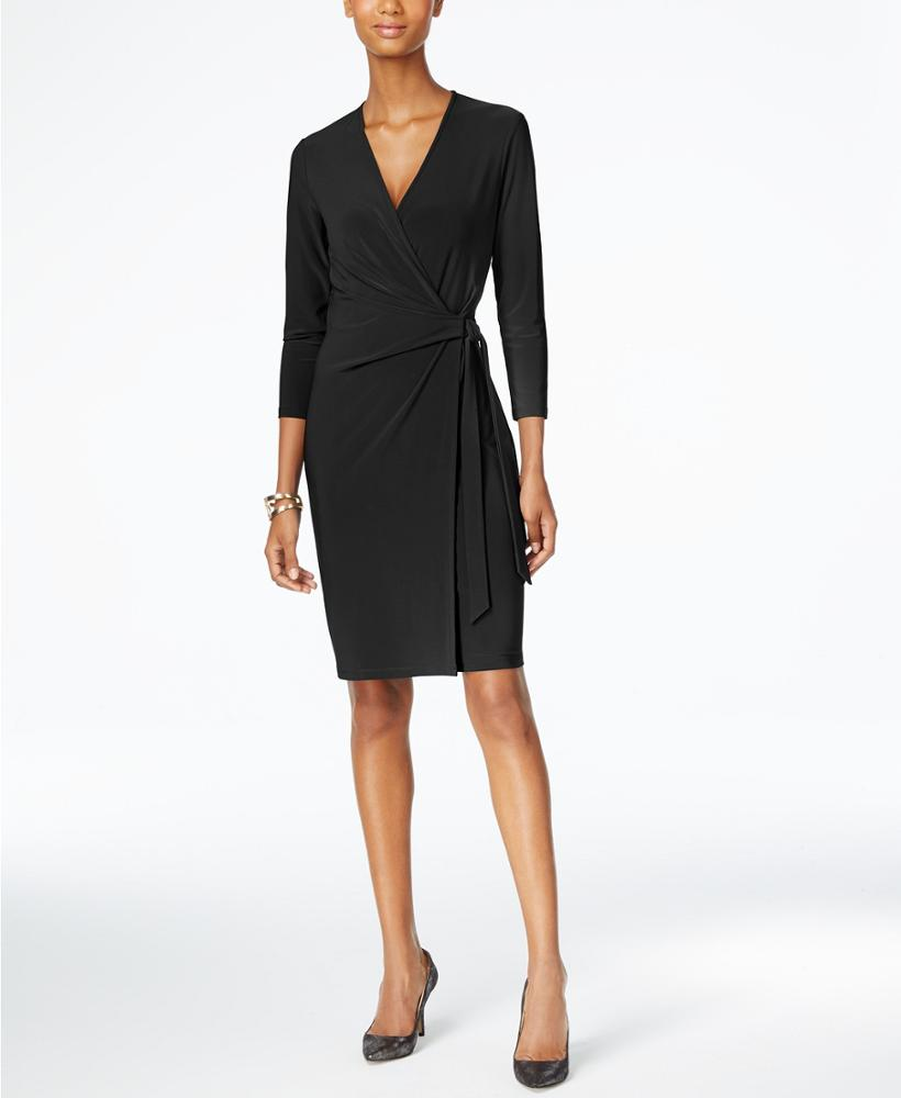 Autumn Hot Sale Sexy <strong>Faux</strong> <strong>Wrap</strong> Dress V Neck Black Smocked Long Sleeve Office Dress For Ladies