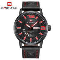2019 naviforce 9143 fashion sports 30m waterproof quartz wristwatches for man with blue leather strap