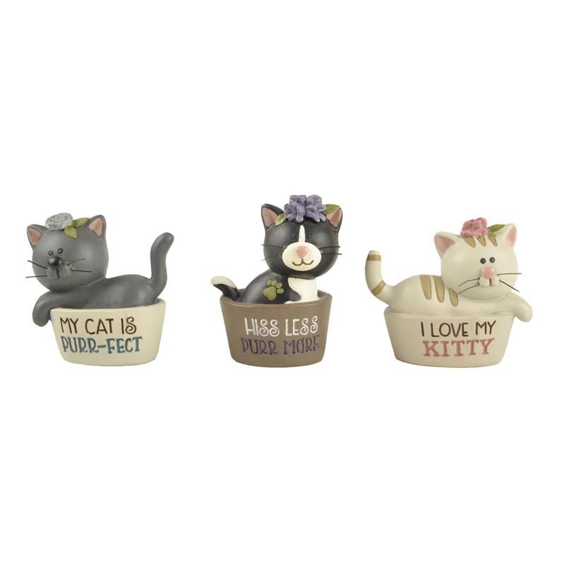 2020 Catch Your Eyes Figurine Polyresin Set of 3 Cats in Their Beds with Wording