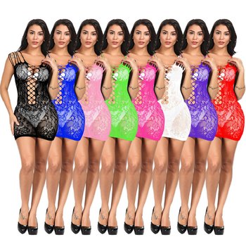 Women's Mesh Lingerie Fishnet Babydoll Mini Dress Free Size Bodysuit