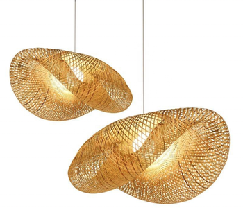 Bamboo Weave Pendant Lamp Nordic Designer Creative Rattan Lampshade Bird Nest Pendant Lamp for Bar Cafe Bamboo Weaving Lights