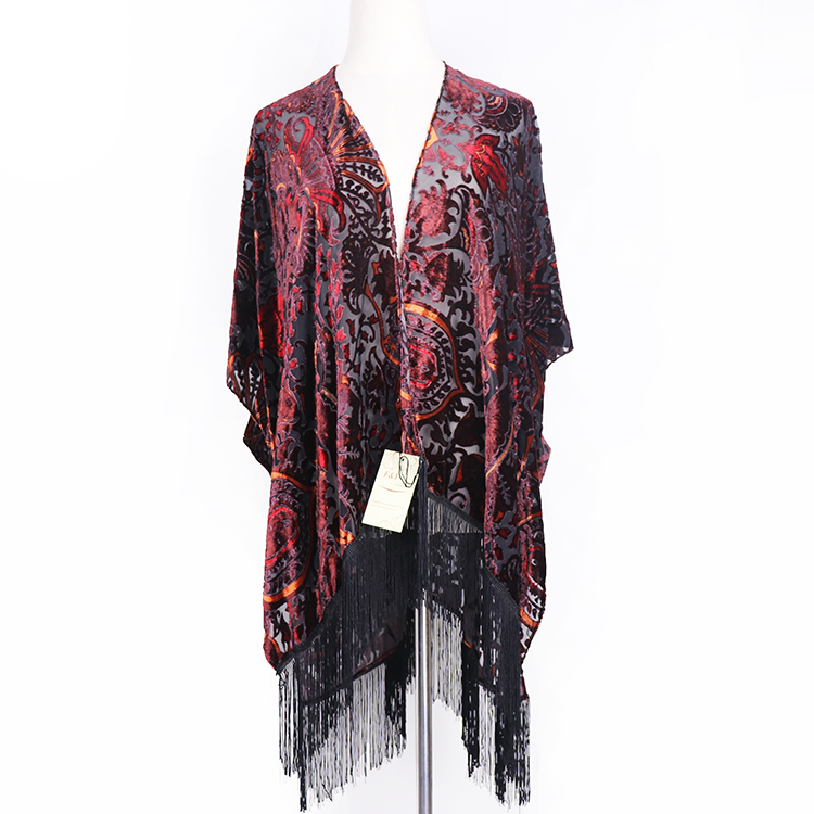 Women burnout velvet kimono Ladies autumn blouse with crochet tassel female ruana custom shawl kimono
