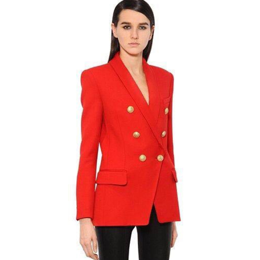 New arrival slim fit golden metal buttons long sleeve double breasted jacket workwear office lady tuxedo blazer ladi woman mujer фото