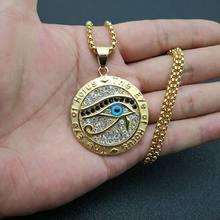 Античный Египетский Глаз Гора кулон ожерелья для женщин и мужчин золотой цвет нержавеющая сталь круглые ювелирные изделия Прямая поставка(Китай)