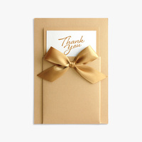 Custom High Quality Black Embossing Gold Foil Stamp Greeting Thank You Card