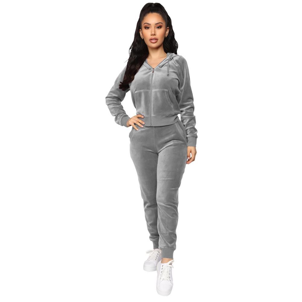 91010-MX58 autumn winter style Velvet two piece jackets and long pants ladies jumpsuit