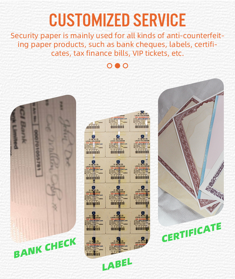 80gsm الأوراق النقدية A4 حجم 75% القطن 25% الكتان ورق أمني. ورقة لاصقة ألياف الأمن