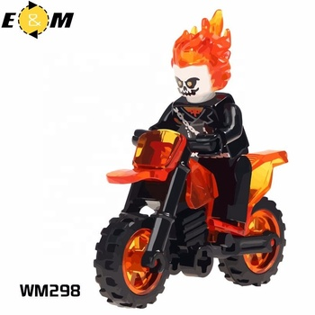 WM298 legoes Super hero Ghost Rider With Motorcycle mini action figures minifig man Building Blocks assembly Block men
