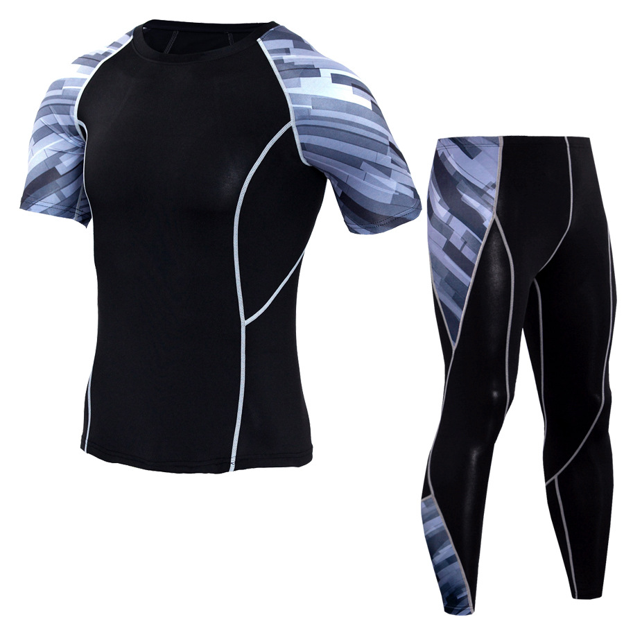 Men Sportswear Compression Sport Suits Quick Dry Running Sets Clothes Sports Joggers Training Gym Fitness Tracksuits Running Set 8