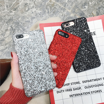 Hot Matte Glitter Plastic Sequin Phone Case for iPhone X XS XR XS Max, for iPhone 6 7 8 Plus X Sequin Phone Case
