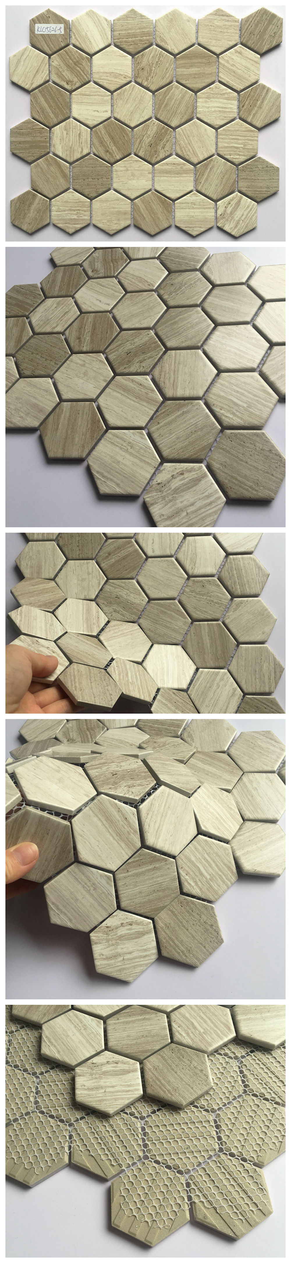 Hot selling grey color hexagonal ceramic mosaic porcelain tile for bathroom and kitchen Foshan China
