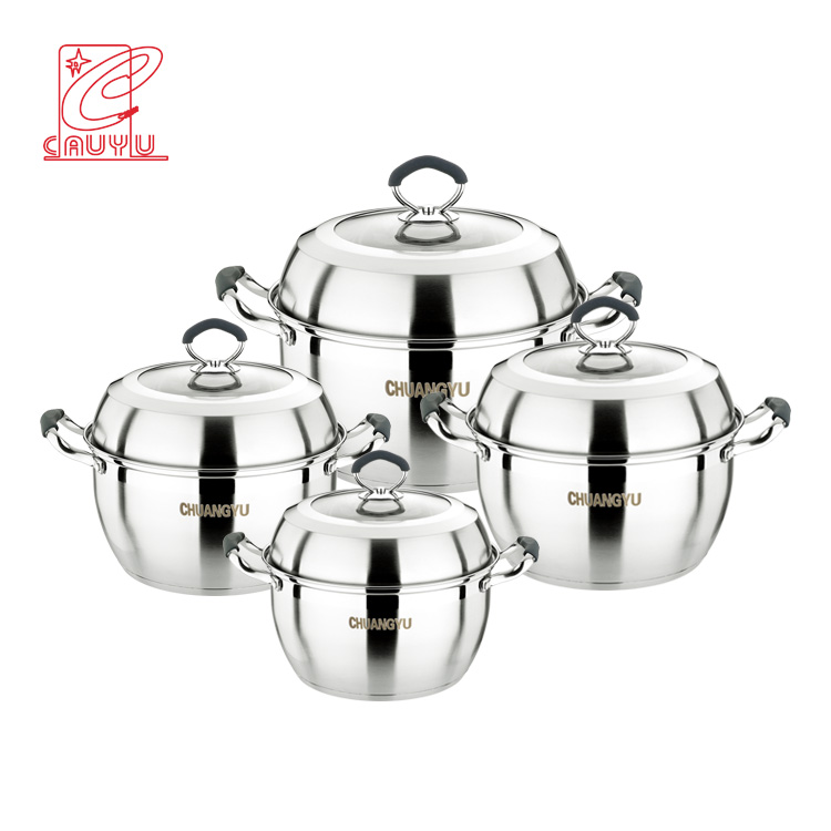 8Pcs Stainless Steel Pot Soup Pot Set Cooking Pot Cookware Set With Silicon Handles