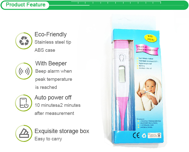 High Quality Adult Baby Oral Waterproof LCD Screen Medical Flexible Digital Thermometer