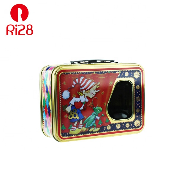 rectangular custom tin lunch box with lock and key and clear window