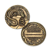 NEW Wholesale Dragon pattern Custom 3D Blank Metal Antique Coin