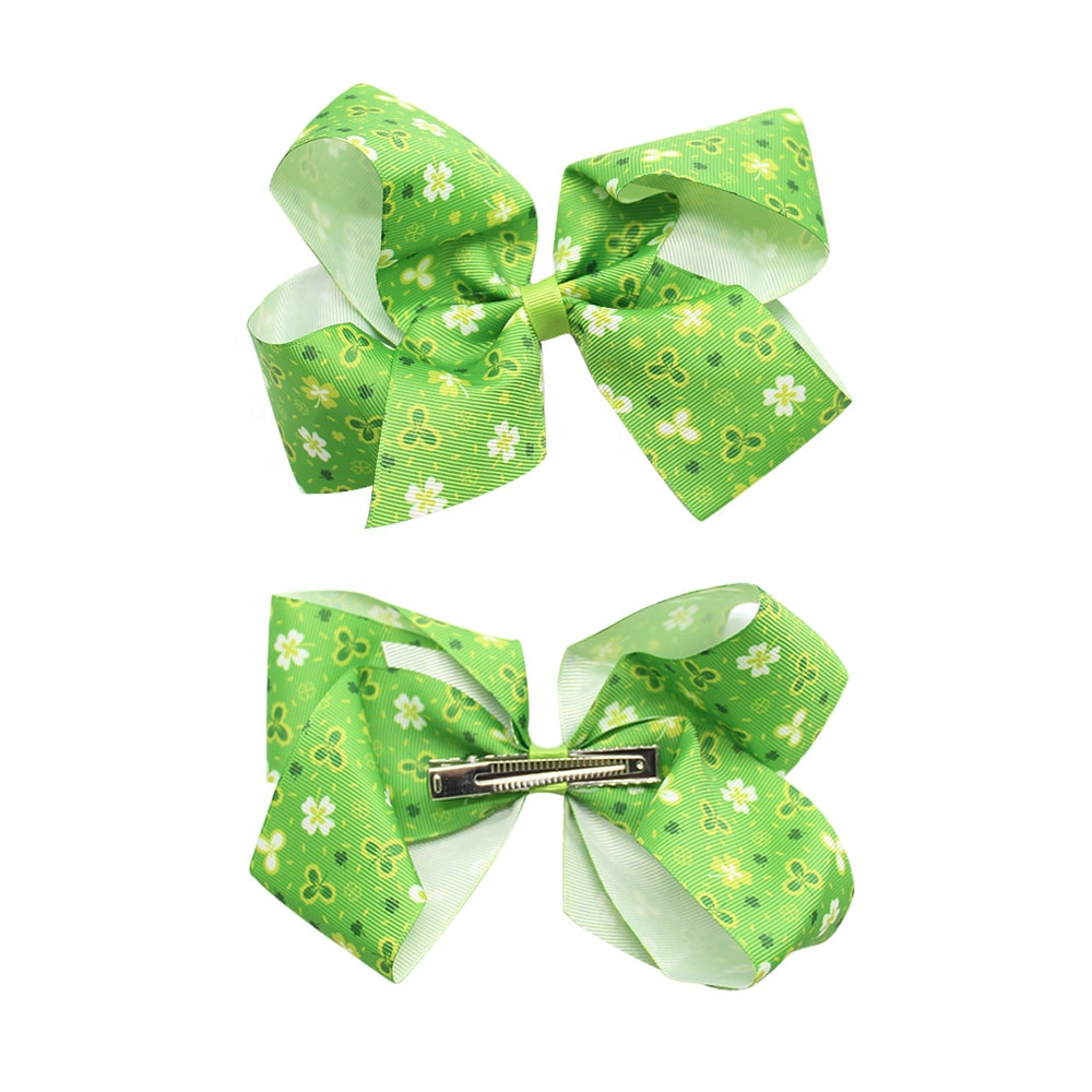 "6"" Wholesale Custom Printed Hair Clips Diy Glitter Leather Hair Bows Bulk"
