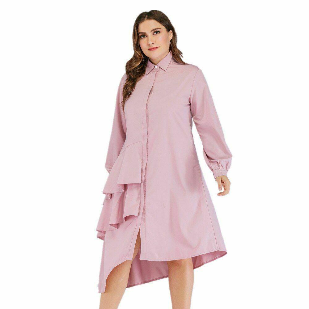 नई वसंत शरद ऋतु प्लस आकार लंबी शर्ट महिलाओं के लिए सौंदर्य अंचल अनियमित कपड़े