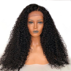 Wholesale Deep Wave Frontal Lace Wig Curly Virgin Hair Wigs Human Transparent Lace With Elastic Band Vendors