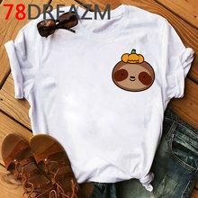 Женская футболка с забавными ленивыми животными, летний топ каваи размера плюс, футболка унисекс с надписью Take It Slow, футболка с графическим ...(China)