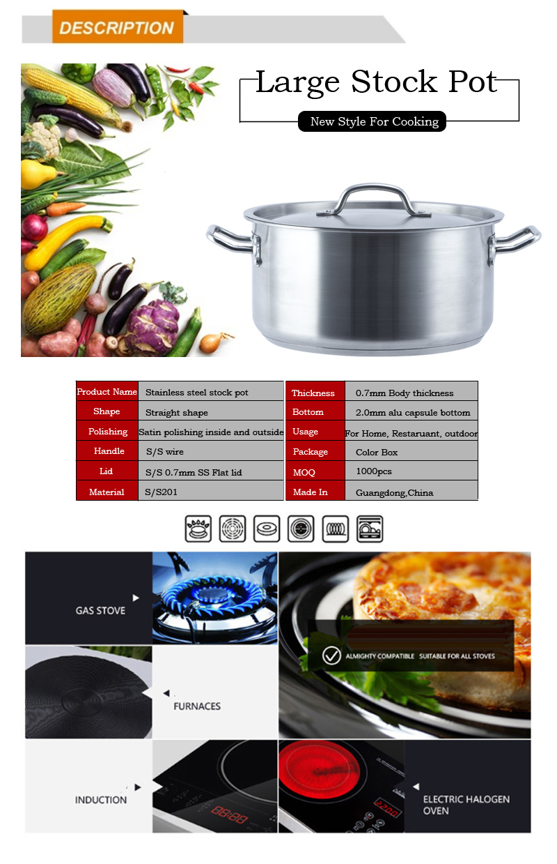 Hot Stainless Steel Stockpot Cooking Pot  Encapsulated Bottom With Lid