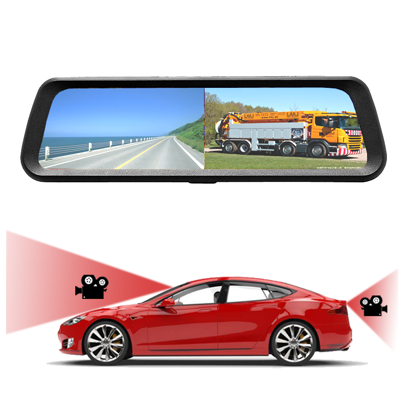 High Quality 9.66 inch Full <strong>Screen</strong> 1080P Dual Camera Dash Car DVR Rearview Mirror