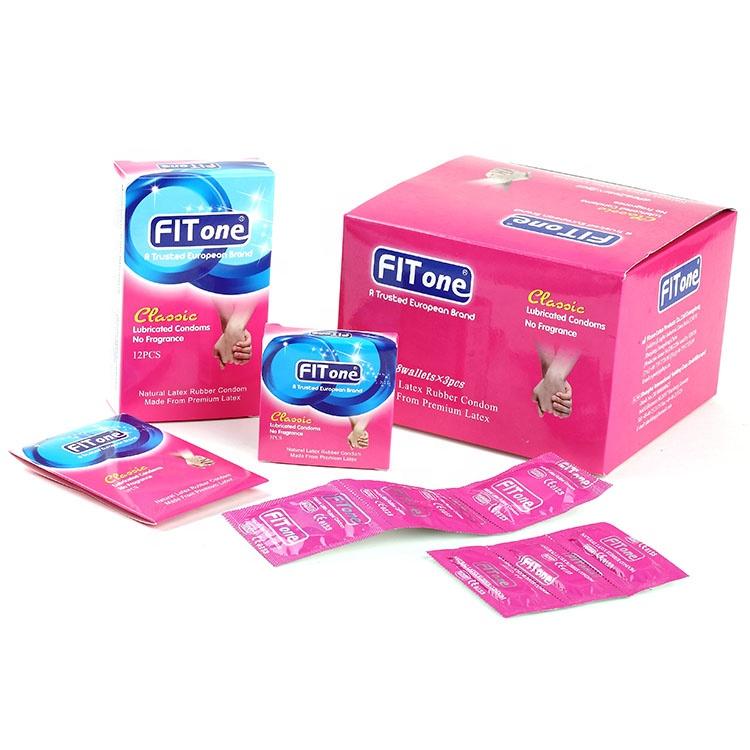 Preservativi di vibrazione preservativo classico liscio pianura sapore con retactange pacchetto