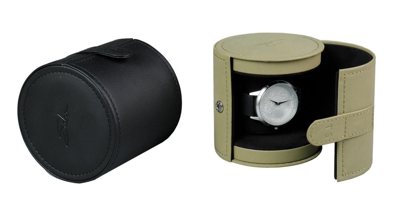 Özel Logo yuvarlak Pu deri mücevher kutusu tek saat ambalaj kutusu