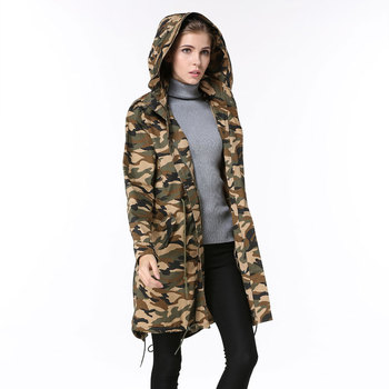 Chinese factory women man camouflage handsome military long style coat
