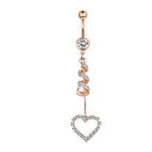 1 шт. циркониевое сексуальное длинное кольцо для живота, милое сердце для пупка для пирсинга, из хирургической стали, розовое золото, Женское...(Китай)