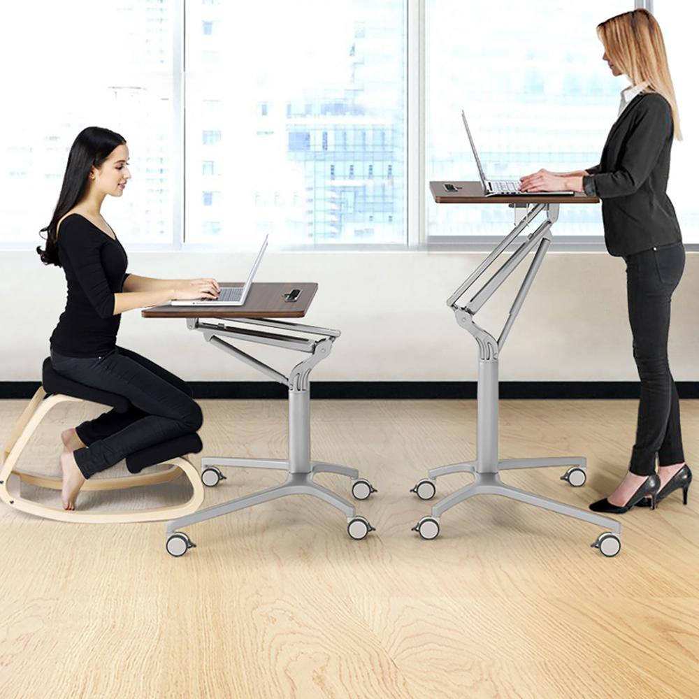 Gas Lift Height Adjustable Movable Laptop Desk with Wheels