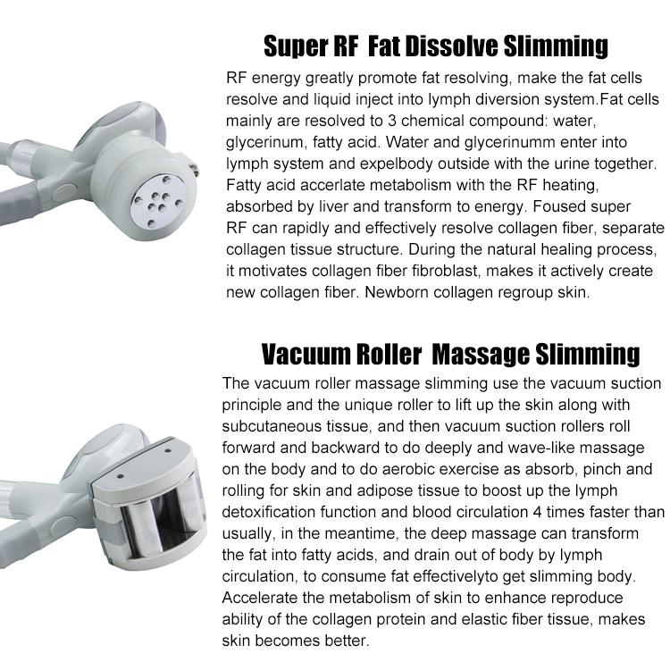 Vuoto massaggio del rullo e super rf corpo dimagrante multi-funzionale apparecchiatura di bellezza macchina