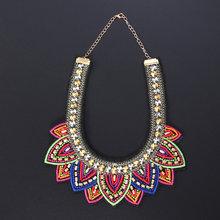 Очаровательное бисерное ожерелье, вышивка, ручная работа, этническое ожерелье, Женские аксессуары (красный)(Китай)