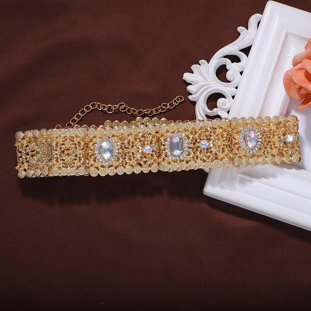 26422 Dvacaman Za New Arrival Fashion Women Trendy Vintage Gold Plated Ladies Crystal Hollow Metal Belt
